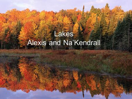 Lakes Alexis and Na'Kendrall. What is a lake? A lake is a huge body of water. A lake is bigger than a pond. Most lakes have fresh water, but some are.