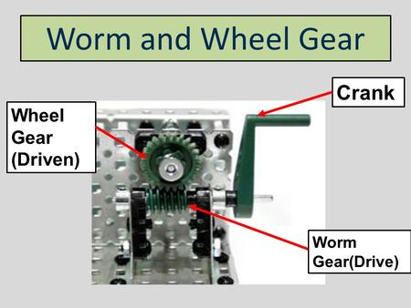 Worm and Wheel Gear Crank Wheel Gear (Driven) Worm Gear(Drive)