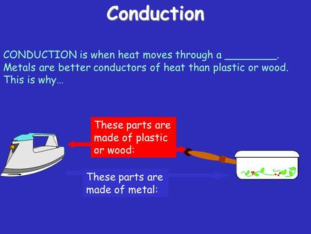 Conduction CONDUCTION is when heat moves through a ________. Metals are better conductors of heat than plastic or wood. This is why… These parts are.