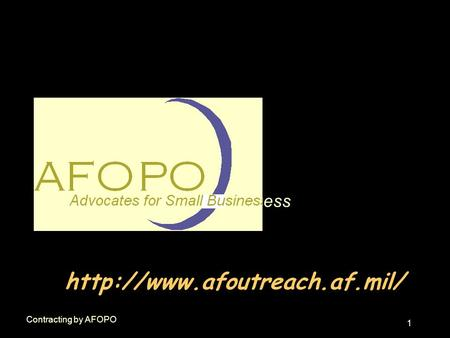 1 Contracting by AFOPO  ess.
