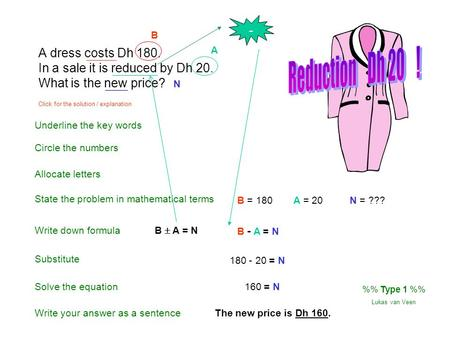 A dress costs Dh 180. In a sale it is reduced by Dh 20. What is the new price? Underline the key words Circle the numbers Write down formula State the.