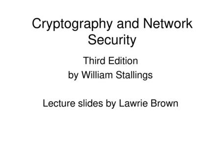 Cryptography and Network Security Chapter ppt video online download