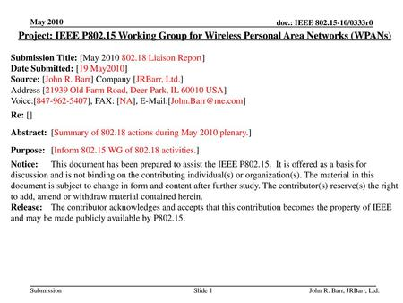 May 2010 doc.: IEEE 802.15-10/0333r0 May 2010 Project: IEEE P802.15 Working Group for Wireless Personal Area Networks (WPANs) Submission Title: [May 2010.