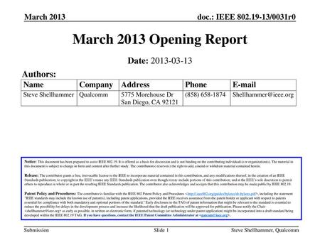 March 2013 Opening Report Date: Authors: March 2013