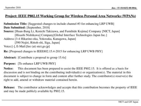 Project: IEEE P802.15 Working Group for Wireless Personal Area Networks (WPANs) Submission Title: [Suggested changes to include channel #3 for enhancing.