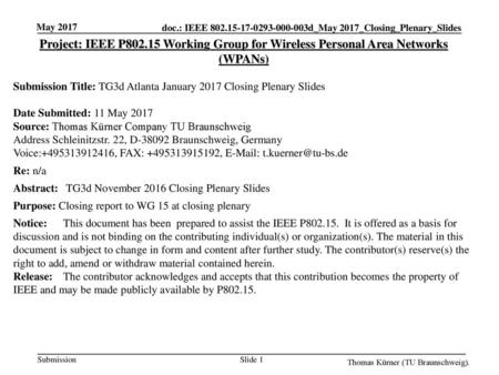 May 2017 Project: IEEE P802.15 Working Group for Wireless Personal Area Networks (WPANs) Submission Title: TG3d Atlanta January 2017 Closing Plenary Slides.