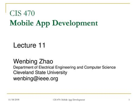 Cosc 5/4730 Android Content Providers and Intents  - ppt download