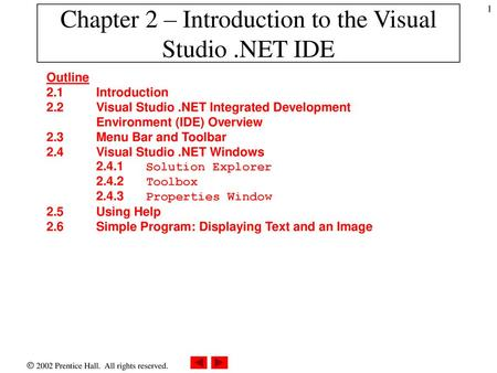 Chapter 2 Introduction To The Visual Studio NET IDE Ppt