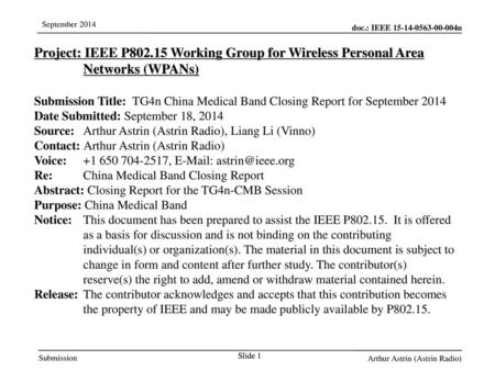 Jul 12, 2010 07/12/10 Project: IEEE P802.15 Working Group for Wireless Personal Area Networks (WPANs) Submission Title: TG4n China Medical Band Closing.