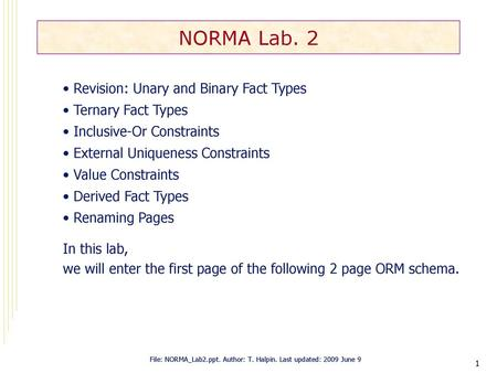 1 NORMA Lab 2 Revision Unary And Binary Fact Types Ternary