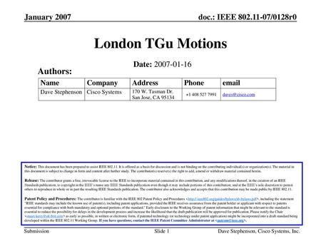 London TGu Motions Authors: January 2007 Date: Month Year
