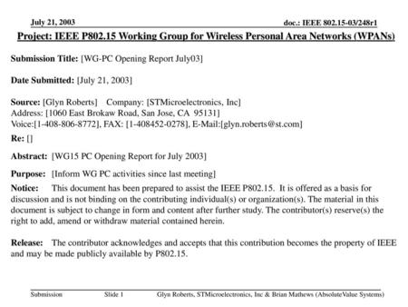 July 21, 2003 Project: IEEE P802.15 Working Group for Wireless Personal Area Networks (WPANs) Submission Title: [WG-PC Opening Report July03] Date Submitted: