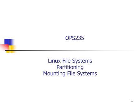 System Administration Storage Systems  Agenda Storage Devices