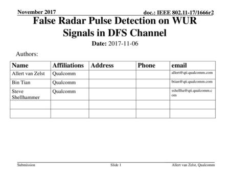 False Radar Pulse Detection on WUR Signals in DFS Channel