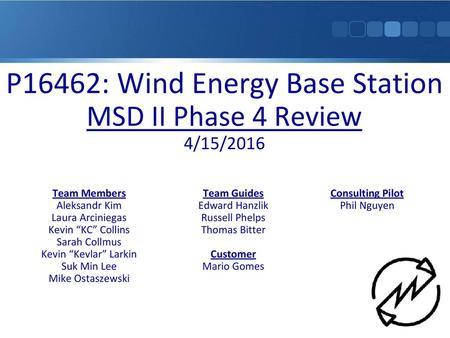 P10505 – Cold Pressure Fusing II Final Design Review Team