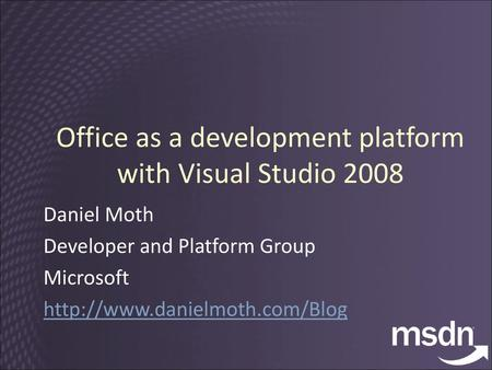 Microsoft Visual Studio 2005 Tools for the Office System: Building