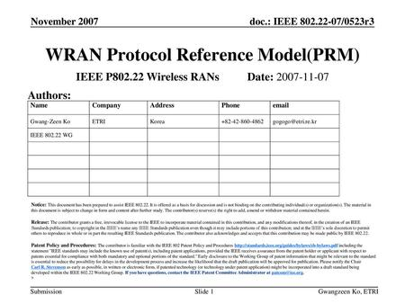 WRAN Protocol Reference Model(PRM)