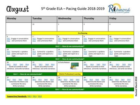 Kindergarten Pacing Guide 2018