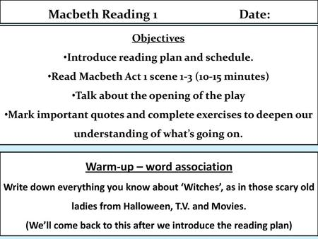 MACBETH QUESTIONS and ANALYSIS  ACt 1, Scene 1 - The Witches PURPOSE