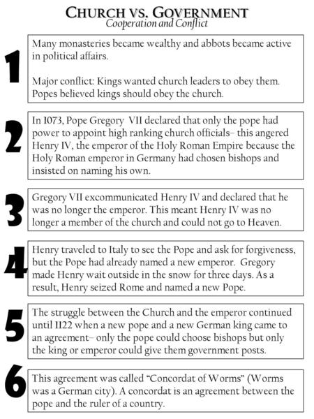 Chapter 10 Section 1: Popes and Kings Standard Demonstrate