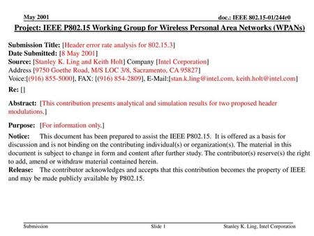 <month year> doc.: IEEE /244r0 May 2001