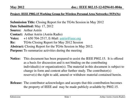 Submission Title: Closing Report for the TG4n Session in May 2012