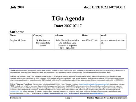 TGu Agenda Date: Authors: July 2007 July 2007