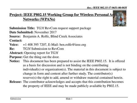 Jul 12, 2010 07/12/10 Project: IEEE P802.15 Working Group for Wireless Personal Area Networks (WPANs) Submission Title: TG3f RevCom request support package.