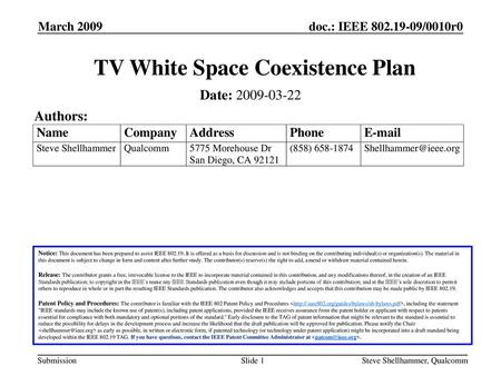 TV White Space Coexistence Plan