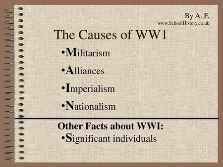 Causes of WW1 M  A  N  I  A  C  S  Militarism 1  Building up