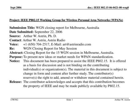 Submission Title: WGN closing report for Melbourne, Australia