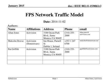 Submission doc : IEEE /0061r6 January 2015 Allan Jones