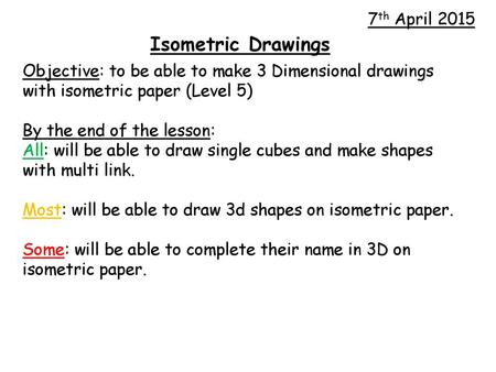 How to draw a cube using isometric paper  - ppt video online