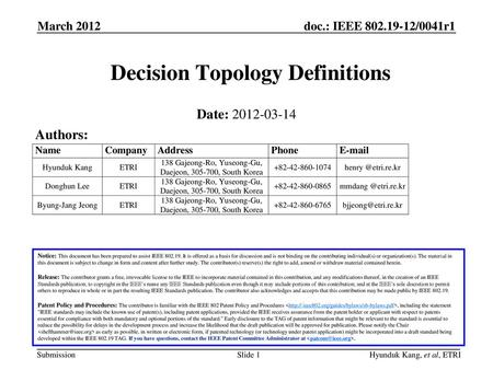 Decision Topology Definitions