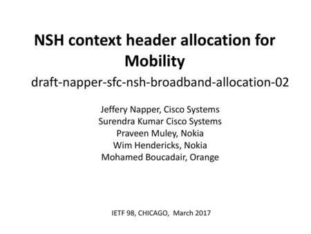 Network Service Header (NSH) draft-ietf-sfc-nsh-04 IETF95
