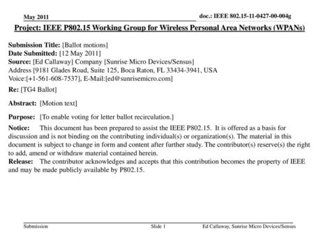 Doc.: IEEE 802.15-11-0427-00-004g May 2011 Project: IEEE P802.15 Working Group for Wireless Personal Area Networks (WPANs) Submission Title: [Ballot motions]