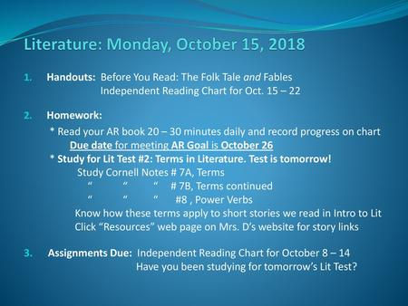 Literature: Wednesday, October 17, ppt download