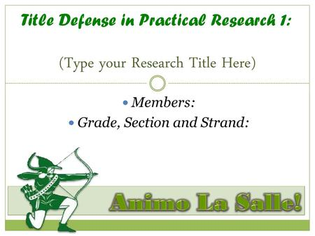 Title Defense in Practical Research 1: