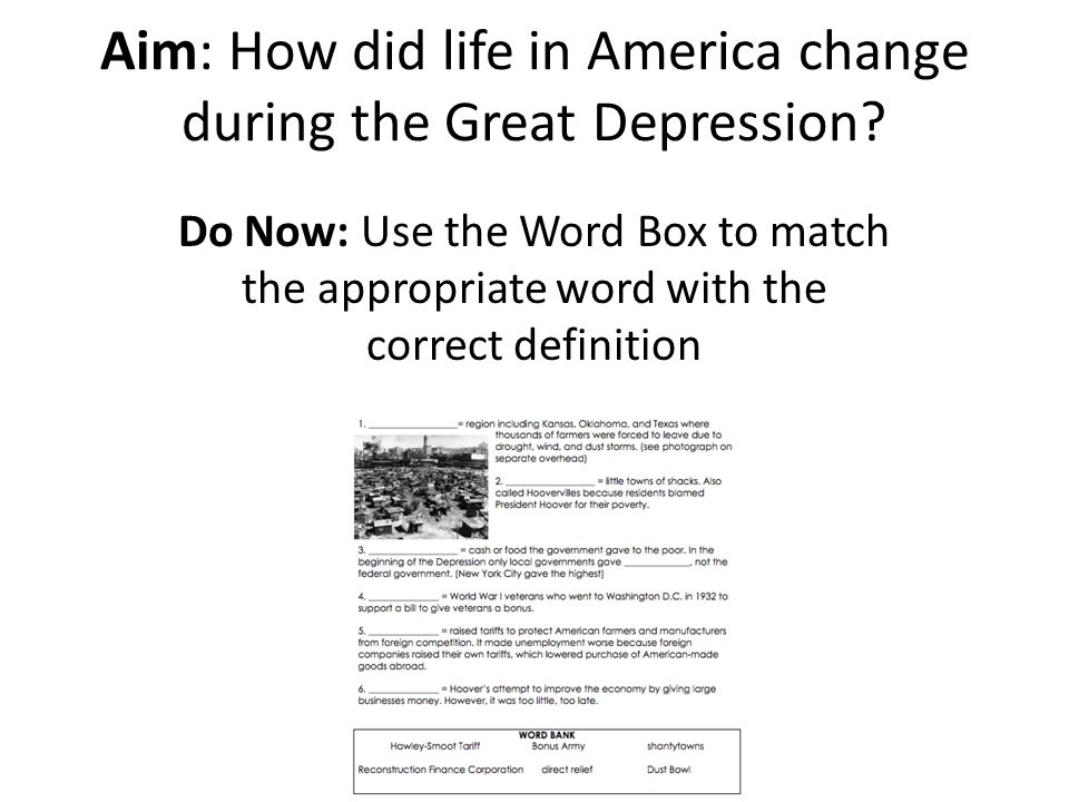 Aim How Did Life In America Change During The Great Depression Ppt Video Online Download