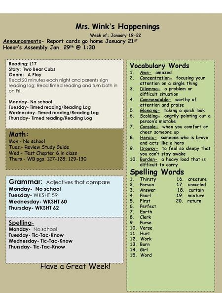 Mrs Wink S Happenings Have A Great Week Spelling Words