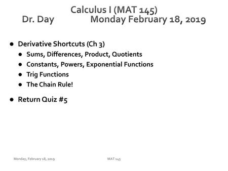 Calculus I (MAT 145) Dr  Day Wednesday September 27, ppt download