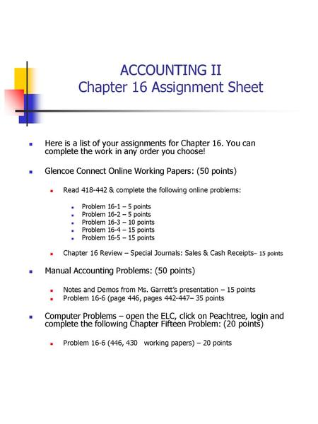 ACCOUNTING I Chapter 5 Assignment Sheet Ppt Download