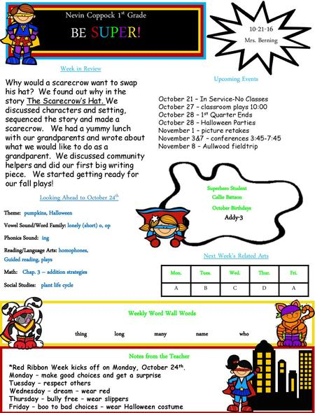 Room 3 Newsletter! Upcoming Events Notes from the Teachers