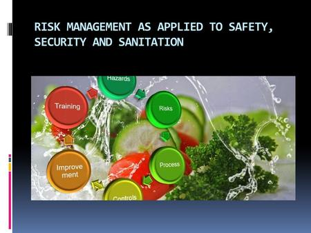 RISK MANAGEMENT AS APPLIED TO SAFETY, SECURITY AND SANITATION.