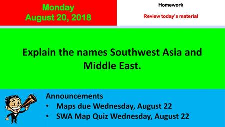 Introduction to Southwest Asia  Maps Use the maps on page