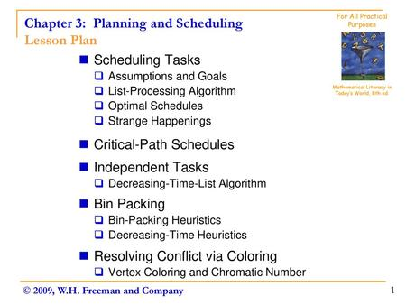 Chapter 3 Planning And Scheduling Planning And Scheduling Topics Resolving Conflict Via Coloring Bin Packing Scheduling Tasks Critical Path Schedules Ppt Download
