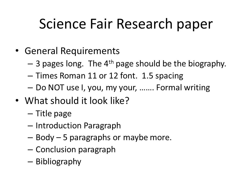 Science fair research paper requirements rationale research proposal