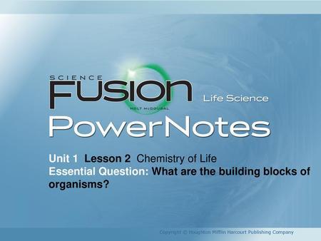 Unit 1 Lesson 2 Chemistry Of Life