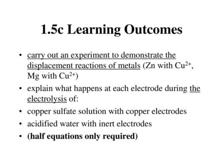 Electrolysis Of Copper Sulphate Experiment Results
