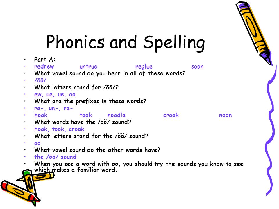 when letters stand for words you will need your textbook ppt 25624 | Phonics and Spelling Part A%3A redrew untrue reglue soon